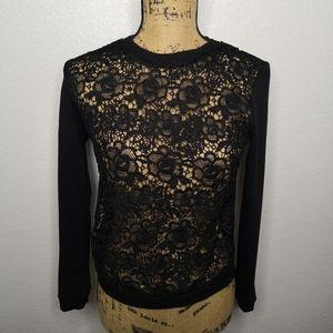 Jonathan Martin Black Lace Front Sweatshirt M